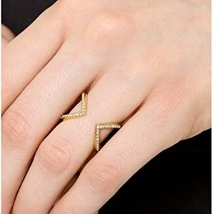 NWT Michael Kors Gold Tone Pave Open Arrow Ring